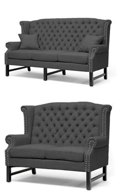 This inspirational living room set includes sofa and loveseat which features wingback, high tufted back, dark charcoal grey linen upholstery, button tuft design, flame retardant polyurethane foam, solid birch wood frame, fire retardant foam cushioning and silver nail head trim for a touch of elegance. Sofa And Loveseat Set, Sofa Chair, Couch, Living Room Grey, Living Room Sets, Victorian Style Furniture, Banquette Bench, Contemporary Furniture, Love Seat