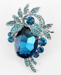 Aquamarine Fine Austrian Rhinestone Crystal Brilliant Wedding Bridal Brooch Pin | eBay