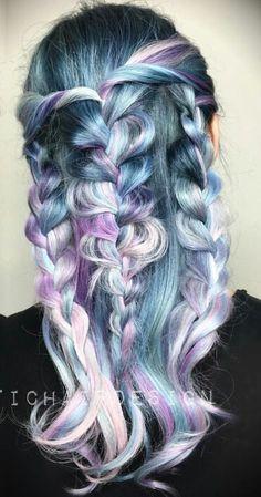 Pastel blue and purple dyed hair color @vividartistichairdesign