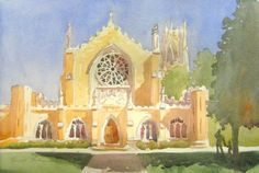 """Original watercolor  """"All Saints Church"""" in Sewanee, TN. Violet Yellow. Stained Glass Windows. University of the South"""