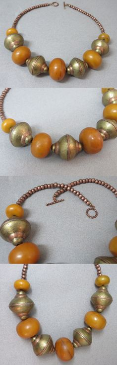 Necklaces and Pendants 98481: Ethnic Design Necklace Vintage African Resin Amber, Brass And Copper Fulani Beads -> BUY IT NOW ONLY: $225 on eBay!