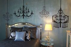 Romantic chandelier decals for a vintage yet modern look.