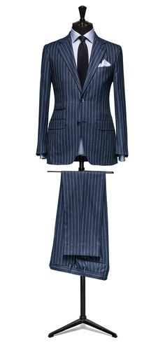 Blue suit Stripe white off white S120 http://www.tailormadelondon.com/shop/tailored-suit-fabric-4340-stripe-blue/