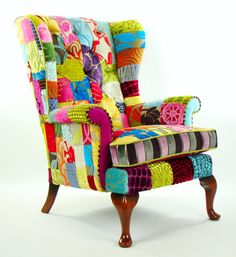 Bespoke Patchwork Parker Knoll Armchair Designers by JustinaDesign
