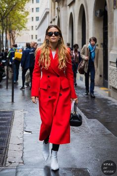 Photo via: Style Du Monde Red is officially a must-have color this fall. As seen on Miroslava Duma, it became more and more evident that this color would surely take over the street style scene, espec