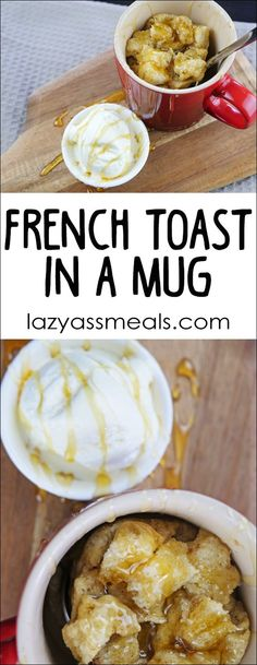 French toast is a mug is a quick and easy way to make your favorite breakfast without making a ton of dishes. One downside is that it won't crisp up like when you cook it in a pan. (food to make french toast) Weight Watcher Desserts, French Toast In A Mug Recipe, French Toast For One, Breakfast In A Mug, Microwave Breakfast, Microwave French Toast, Breakfast Platter, Breakfast Fruit, Vegetarian Breakfast