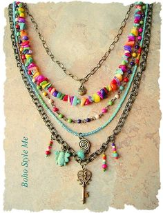 Boho Style Necklace Colorful Layered Beaded Jewelry Modern