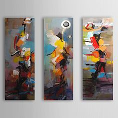 Hand geschilderd olieverfschilderij Abstract met gestrekte frame Set van 3 1309C-AB0807 – EUR € 82.49