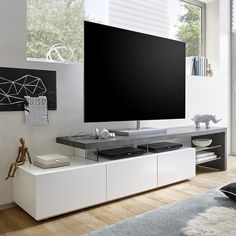 Alanis Modern TV Stand In Concrete And Matt White With 3 Drawers And Glass Shelves will look elegant in your living room. This Stunning TV Stand body is made of MDF Matt White With Top plate in MDF. Tv Stand Modern Design, Design Stand, Tv Stand Designs, Booth Design, Banner Design, Wall Unit Designs, Tv Wall Design, Tv Unit Design, Living Room Tv Unit