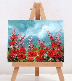 Red Poppies 1. 3x4 inch original miniature oil painting