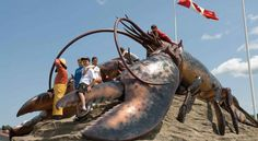 World's largest lobster, Shediac, New Brunswick. I'd be remiss if I didn't choose a lobster pic. Giant Lobster, The Guess Who, New Brunswick Canada, Immigration Canada, Atlantic Canada, Roadside Attractions, Tonne, Banff National Park, Photography