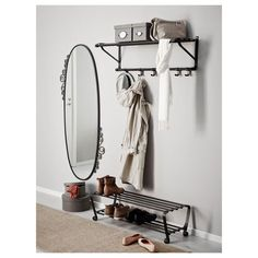 PORTIS shoe rack - £22 Ikea For placing under the hat rack like this in the hall. something to sit on while you put your shoes on.
