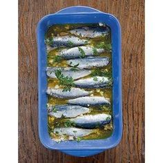 Marinated Sardines (Sardeles Ladolemono) Recipe - For this appetizer from Kea,Greece. fresh sardines are lightly pickled in a tart marinade. Greek Recipes, Fish Recipes, Seafood Recipes, Cooking Recipes, Sardine Recipes, Remoulade, Tiny Fish, Fish Dishes, Mediterranean Recipes