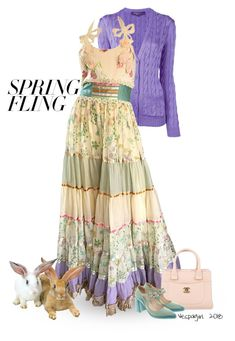 """Spring Fling"" by vespagirl ❤ liked on Polyvore featuring Ralph Lauren Purple Label, Chanel, Prada and springdresses"