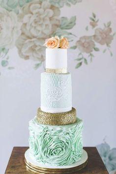 Mint and peach wedding cake
