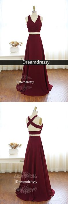 2017 two piece long prom dress, burgundy long prom dress, formal evening dress