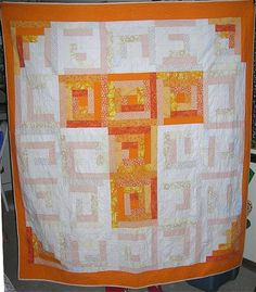 UT Vols log cabin quilt I made Tony for our first Christmas together. HUGE throw sized.