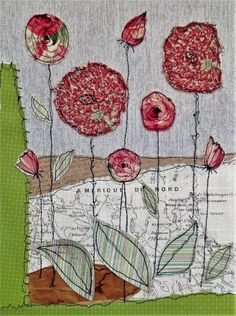 This piece has been inspired by my love for nature.  Its a stunning, colourful mixed media and textile piece created by using free machine embroidery and applique, using a variety of wall papers and craft papers and a floral deep red and cream fabric to create a striking picture.  The original artwork is mounted on a slim box canvas measuring 12 W x 16 H  This would be a beautiful gift or just treat yourself to brighten up a room.    Thank you for viewing my shop, if you have any questions…