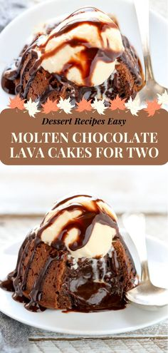 The mild melted chocolate lava for two is so delicious and perfect for Valentine's Day! A rich, decadent and romantic recipe for a chocolate. Dessert For Two, Desserts For A Crowd, Fancy Desserts, Summer Desserts, Simple Dessert, Christmas Desserts, Dessert Cake Recipes, Healthy Dessert Recipes, Cheesecake Recipes
