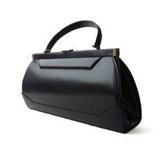 FRENCH VINTAGE , Gorgeous Black Leather Hand Bag , Lady's Hand Bag , Elegant Genuine Leather , Beautiful Shape , Gold Tone Hardware 60