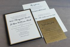 Custom elegant navy and gold wedding invitations by Paperwhites (paperwhites-invitations.com)