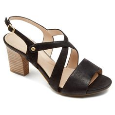 Rockport Women's Seven to 7 Cross Band Sling 75mm $150 - also in other neutral colours Black Dress Sandals, Rockport Shoes, Black Leather Shoes, Slingback Sandal, Men's Shoes, High Heels, Shoe Bag, Boots, Band