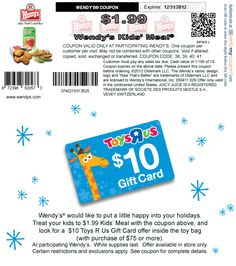 $2 buck kids meal at Wendys coupon via The Coupons App