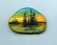Hand painted stone Lake Superior rock scene by OriginalSandMore Pebble Painting, Pebble Art, Stone Painting, Stone Crafts, Rock Crafts, Rock And Pebbles, Rock Painting Designs, Pet Rocks, Hand Painted Rocks