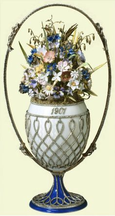 Carl Faberge, Imperial Basket of Flowers Egg, 1901