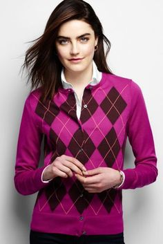 Women's Supima Argyle Cardigan Sweater from Lands' End