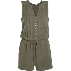 Splendid Pleated voile playsuit (135 CAD) ❤ liked on Polyvore featuring jumpsuits, rompers, romper, army green, army green jumpsuit, playsuit romper, army green romper, jump suit and olive green rompers