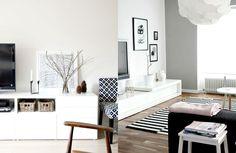 Biała szafka / kredens pod telewizor. Living Room Kitchen, Entryway Bench, Stylish, Inspiration, Furniture, Tv, Home Decor, Entry Bench, Biblical Inspiration