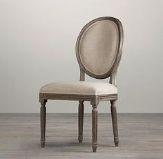 VINTAGE FRENCH ROUND FABRIC SIDE CHAIR | RH