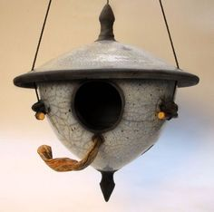 Beautiful Raku birdhouses from Pottery Houses, Ceramic Houses, Ceramic Wall Art, Ceramic Birds, Raku Pottery, Thrown Pottery, Bird House Feeder, Bird Feeders, Pottery Designs