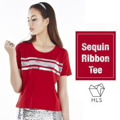 Sequin ribbon tee [1PPPS14001] Upfront, the Sequin Ribbon Tee will tie up all loose ends as you look forward to a firecrackin' new year.