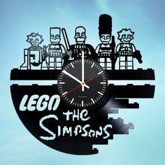 Lego Simpsons Handmade Vinyl Record Wall Clock Fan Gift - VINYL CLOCKS
