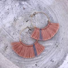 Tassel earrings fringe earrings gold hoop earrings embroidery crochet