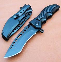 """8"""" Spring Assisted Black Tactical Pocket Knife 6710"""