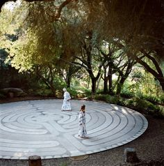 Modeled after the Chartes Cathedral Labyrinth in France, this Labyrinth at The Golden Door is part of their inner-focus where two guests are walking the path as an exercise for comtemplation and meditation.