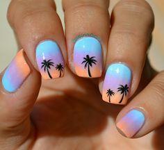 Summer nail art ☀ #manicure #nailart #natural #nails #ombre #gradient #pastel #colors #sabina0031