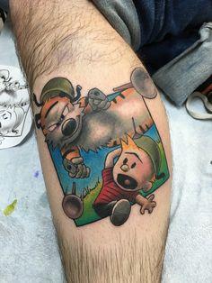 Calvin and Hobbes tattoo by cr1k At studio evolve in va. Beach, va.
