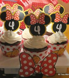Cute cupcakes at a Minnie Mouse birthday party!  See more party planning ideas at CatchMyParty.com!