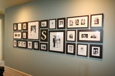 """wall collage in black and white.  -I have A LOT of wall space and I'm thinking this would be a cute idea. Similar to my Aunt @Stacie Huffine's """"H"""" wall--just with pictures :)"""