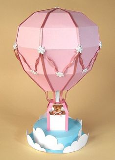 Papercraft Box Template | CARD MAKING TEMPLATES FOR BEAUTIFUL HOT AIR BALLOON +DISPLAY BOX