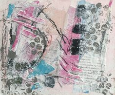 Abstract mixed media collage on cradled Gessobord by Jen Oldknow - jennyoldknow.com