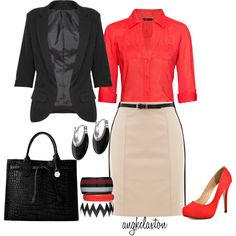 """Coral and Black"" by angkclaxton on Polyvore"