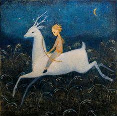 "Fine art greeting card ""Hunter of Dreams"" : Kunst-Grußkarte ""Hunter of Dreams"" Art And Illustration, Illustrations, Arte Peculiar, Moon Art, Whimsical Art, Fantasy Art, Fairy Tales, Deer, Original Artwork"