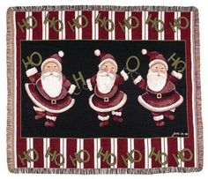 Ho Ho Ho Dancing Santa's Christmas Tapestry Throw Blanket - With Love Home Decor