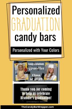 These personalized graduation candy bars make great graduation party favors. You can personalize them with your school colors. Your guests will love receiving this sweet treat as a token of your appreciation for celebrating this special day with you. Personalized Candy Bars, Graduation Party Favors, Candy Wrappers, High School Graduation, Class Of 2020, School Colors, Text You, Elementary Schools, Appreciation