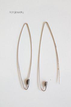 Silver long modern handmade earrings Custom made by notAjewelry, $41.00